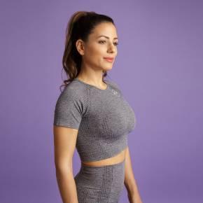 Heart & Motion - Seamless Basic T-Shirt Crop Top STONE GREY
