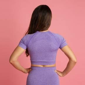 Heart & Motion - Seamless Basic T-Shirt Crop Top LILAC